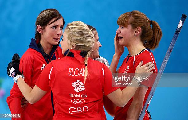 Eve Muirhead Anna Sloan Vicki Adams and Claire Hamilton of Great Britain celebrate as they win the bronze medal during the Bronze medal match between...