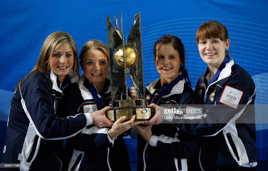 <a gi-track='captionPersonalityLinkClicked' href=/galleries/search?phrase=Eve+Muirhead&family=editorial&specificpeople=5635192 ng-click='$event.stopPropagation()'>Eve Muirhead</a>, Anna Sloan, Vicki Adams and Claire Hamilton pose with the trophy after winning the Gold medal match between Sweden and Scotland on Day 9 of the Titlis Glacier Mountain World Women's Curling Championship at the Volvo Sports Centre on March 24, 2013 in Riga, Latvia.