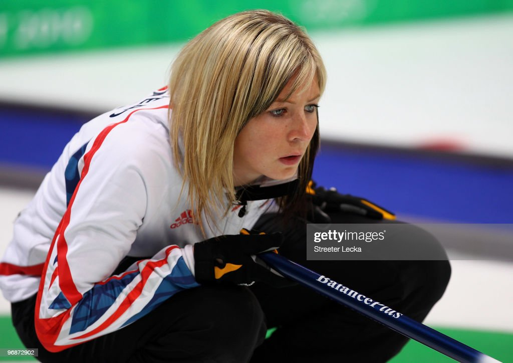 Eve Muirhead of Great Britain and Northern Ireland lines up a shot during the Women's Curling Round Robin match between Germany and Great Britain on...