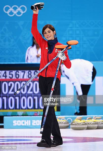 Eve Muirhead of Great Britain celebrates as Team GB win the bronze medal during the Bronze medal match between Switzerland and Great Britain on day...