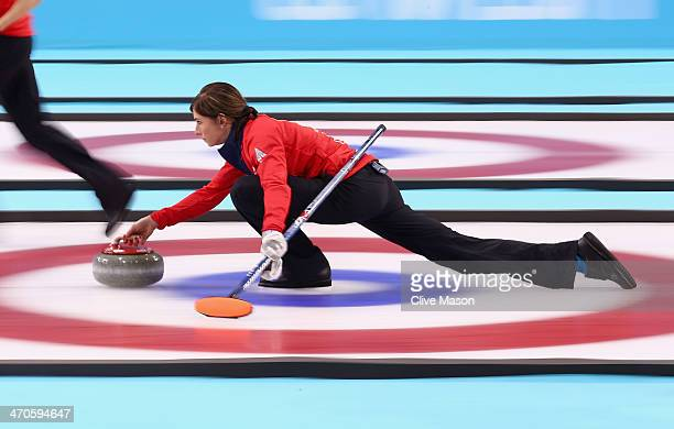 Eve Muirhead of Great Britain in action during the Bronze medal match between Switzerland and Great Britain on day 13 of the Sochi 2014 Winter...