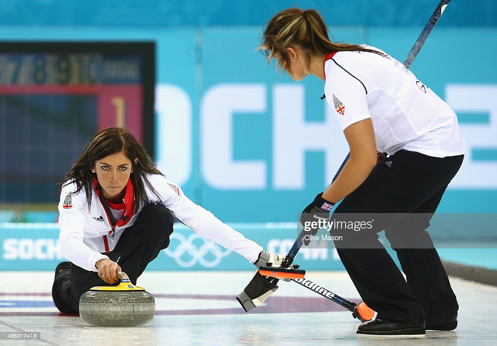 Eve Muirhead of Great Britain in action during the round robin match against Sweden during day 3 of the Sochi 2014 Winter Olympics at Ice Cube...
