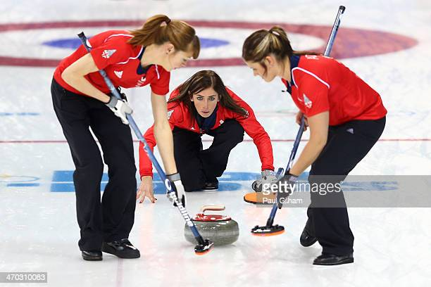 Eve Muirhead of Great Britain looks on after releasing the stone during the women's semifinal match between Great Britain and Canada at Ice Cube...