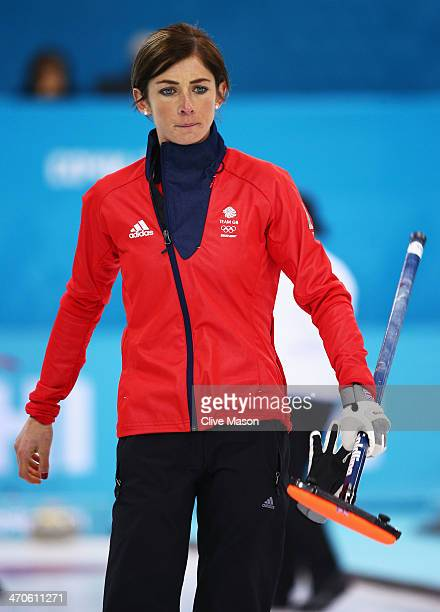 Eve Muirhead of Great Britain looks on during the Bronze medal match between Switzerland and Great Britain on day 13 of the Sochi 2014 Winter...