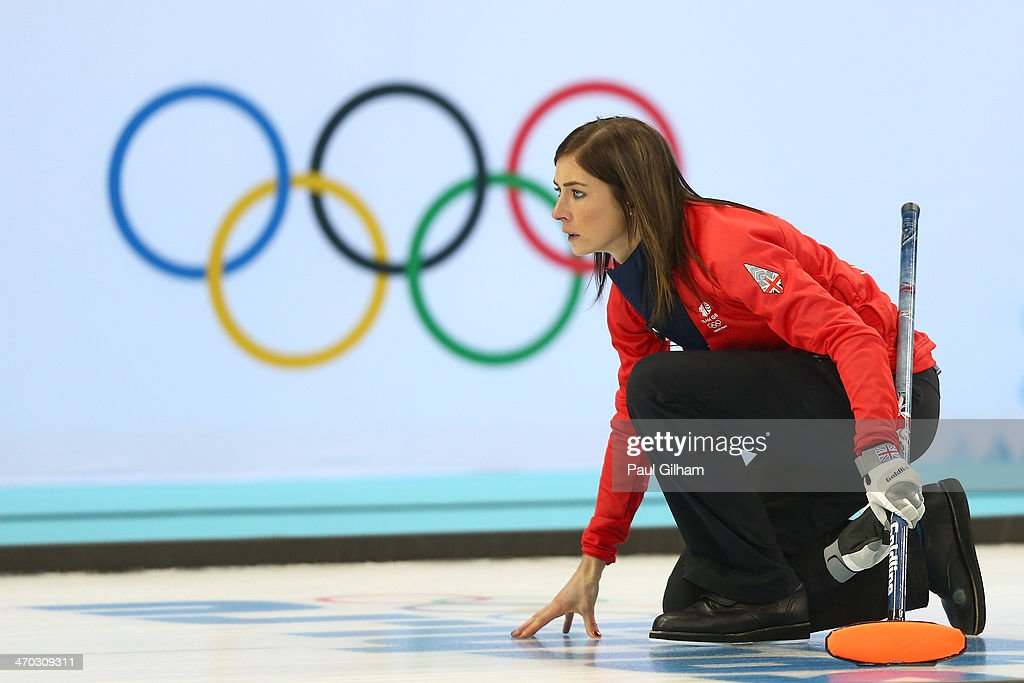 Eve Muirhead of Great Britain looks on during the women's semifinal match between Great Britain and Canada at Ice Cube Curling Center on February 19...