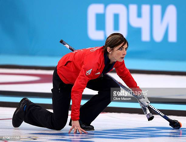 Eve Muirhead of Great Britain plays the final stone during the Bronze medal match between Switzerland and Great Britain on day 13 of the Sochi 2014...