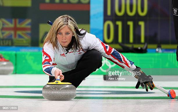 Eve Muirhead of Great Britain releases a stone during the Women's Curling Round Robin match between Germany and Great Britain on day 8 of the...