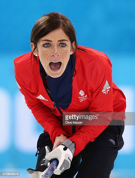 Eve Muirhead of Great Britain shouts instructions during the Bronze medal match between Switzerland and Great Britain on day 13 of the Sochi 2014...