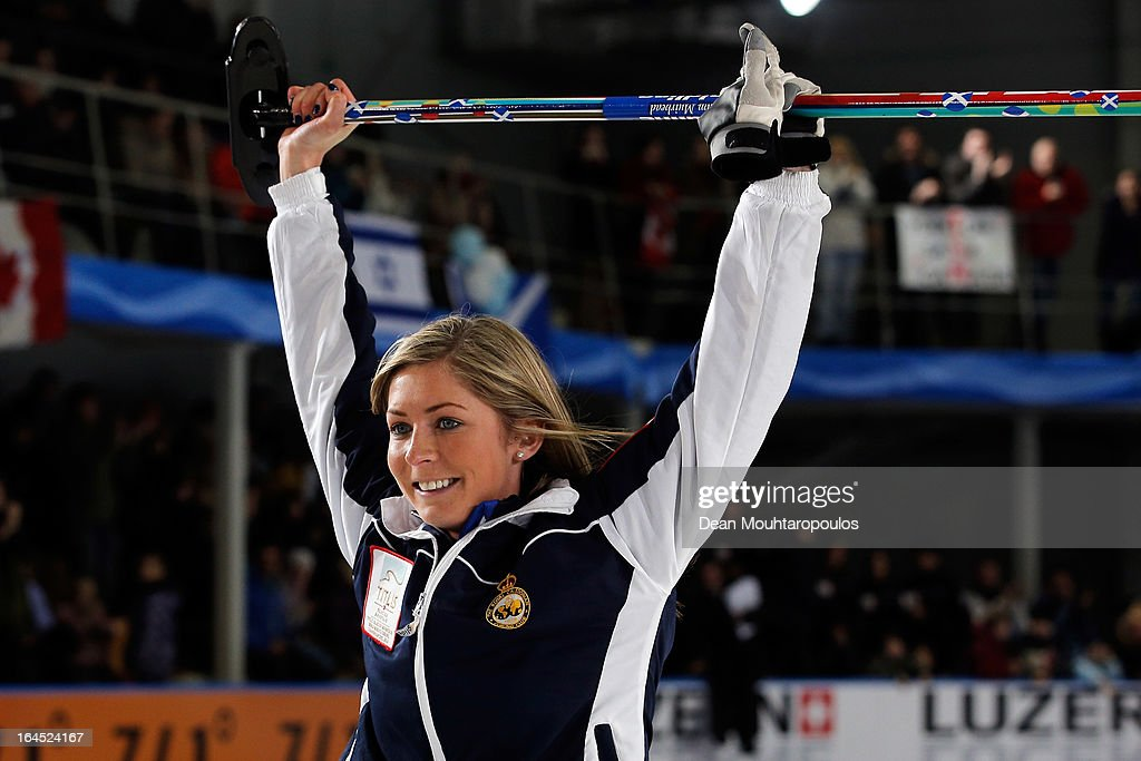 Eve Muirhead of Scotland celebates after the final shot to win the Gold medal match between Sweden and Scotland on Day 9 of the Titlis Glacier Mountain World Women's Curling Championship at the Volvo Sports Centre on March 24, 2013 in Riga, Latvia.
