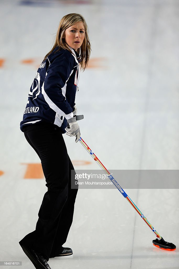 Eve Muirhead of Scotland looks on during the Gold medal match between Sweden and Scotland on Day 9 of the Titlis Glacier Mountain World Women's Curling Championship at the Volvo Sports Centre on March 24, 2013 in Riga, Latvia.
