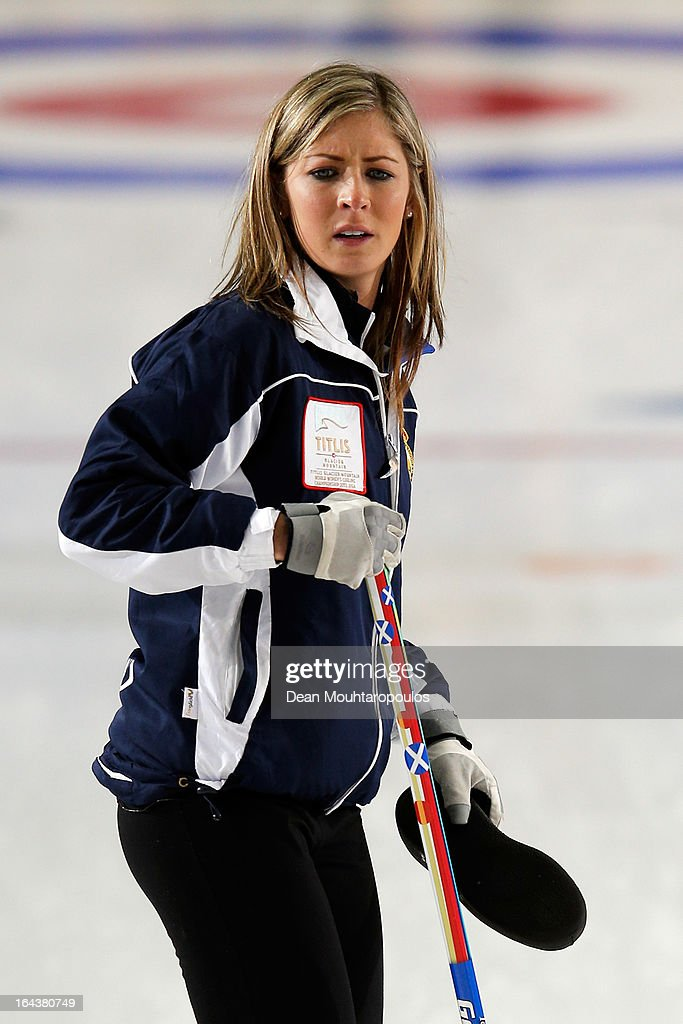 Eve Muirhead of Scotland looks on during the Semi Final match between Scotland and Canada on Day 8 of the Titlis Glacier Mountain World Women's Curling Championship at the Volvo Sports Centre on March 23, 2013 in Riga, Latvia.