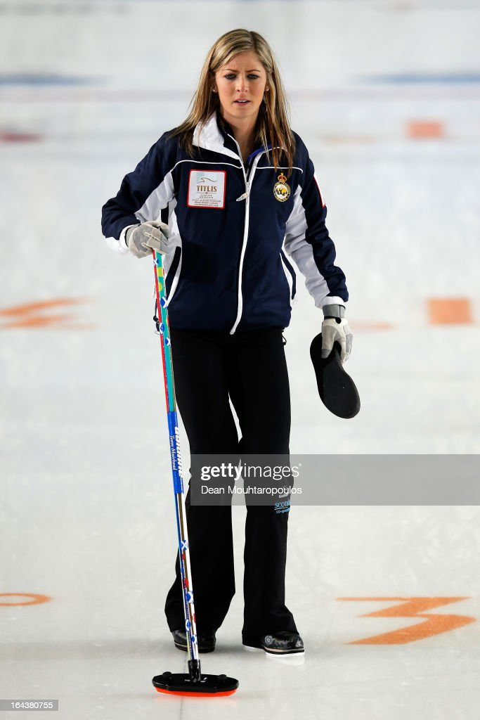 <a gi-track='captionPersonalityLinkClicked' href=/galleries/search?phrase=Eve+Muirhead&family=editorial&specificpeople=5635192 ng-click='$event.stopPropagation()'>Eve Muirhead</a> of Scotland looks on during the Semi Final match between Scotland and Canada on Day 8 of the Titlis Glacier Mountain World Women's Curling Championship at the Volvo Sports Centre on March 23, 2013 in Riga, Latvia.