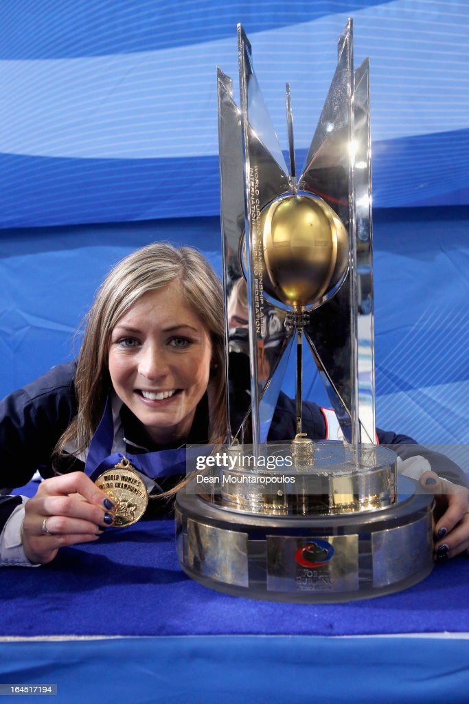 Eve Muirhead of Scotland poses with the trophy and Gold medal after winning the Gold medal match between Sweden and Scotland on Day 9 of the Titlis Glacier Mountain World Women's Curling Championship at the Volvo Sports Centre on March 24, 2013 in Riga, Latvia.