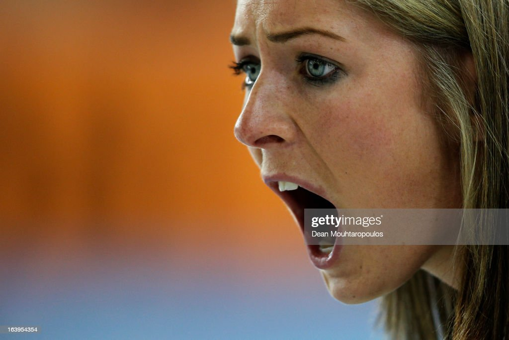 <a gi-track='captionPersonalityLinkClicked' href=/galleries/search?phrase=Eve+Muirhead&family=editorial&specificpeople=5635192 ng-click='$event.stopPropagation()'>Eve Muirhead</a> of Scotland screams instructions after she throws the stone in the match between Japan and Scotland during Day 3 of the Titlis Glacier Mountain World Women's Curling Championship at the Volvo Sports Centre on March 18, 2013 in Riga, Latvia.