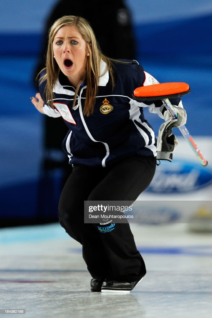 <a gi-track='captionPersonalityLinkClicked' href=/galleries/search?phrase=Eve+Muirhead&family=editorial&specificpeople=5635192 ng-click='$event.stopPropagation()'>Eve Muirhead</a> of Scotland screams instructions to team mates during the Semi Final match between Scotland and Canada on Day 8 of the Titlis Glacier Mountain World Women's Curling Championship at the Volvo Sports Centre on March 23, 2013 in Riga, Latvia.