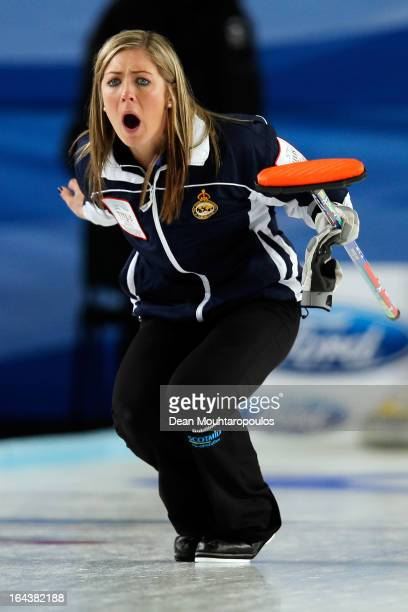 Eve Muirhead of Scotland screams instructions to team mates during the Semi Final match between Scotland and Canada on Day 8 of the Titlis Glacier...
