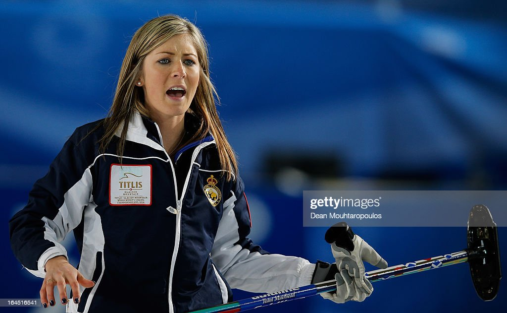 Eve Muirhead of Scotland screams instructions to team mates during the Gold medal match between Sweden and Scotland on Day 9 of the Titlis Glacier Mountain World Women's Curling Championship at the Volvo Sports Centre on March 24, 2013 in Riga, Latvia.