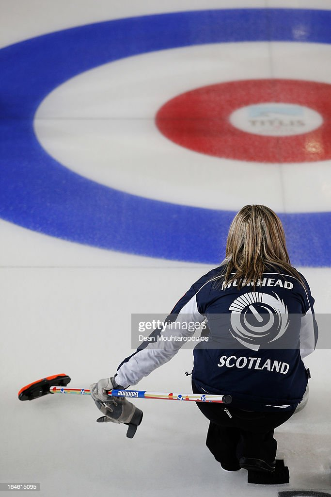 Eve Muirhead of Scotland throws a stone during the Gold medal match between Sweden and Scotland on Day 9 of the Titlis Glacier Mountain World Women's Curling Championship at the Volvo Sports Centre on March 24, 2013 in Riga, Latvia.