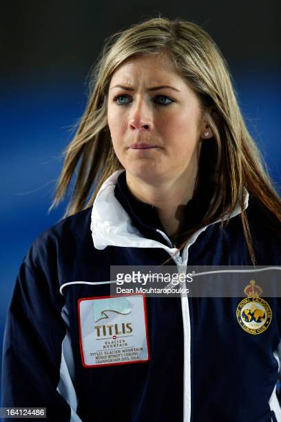 Eve Muirhead of Scotland watches the Danish players play a shot in the match between Scotland and Denmark on Day 5 of the Titlis Glacier Mountain...