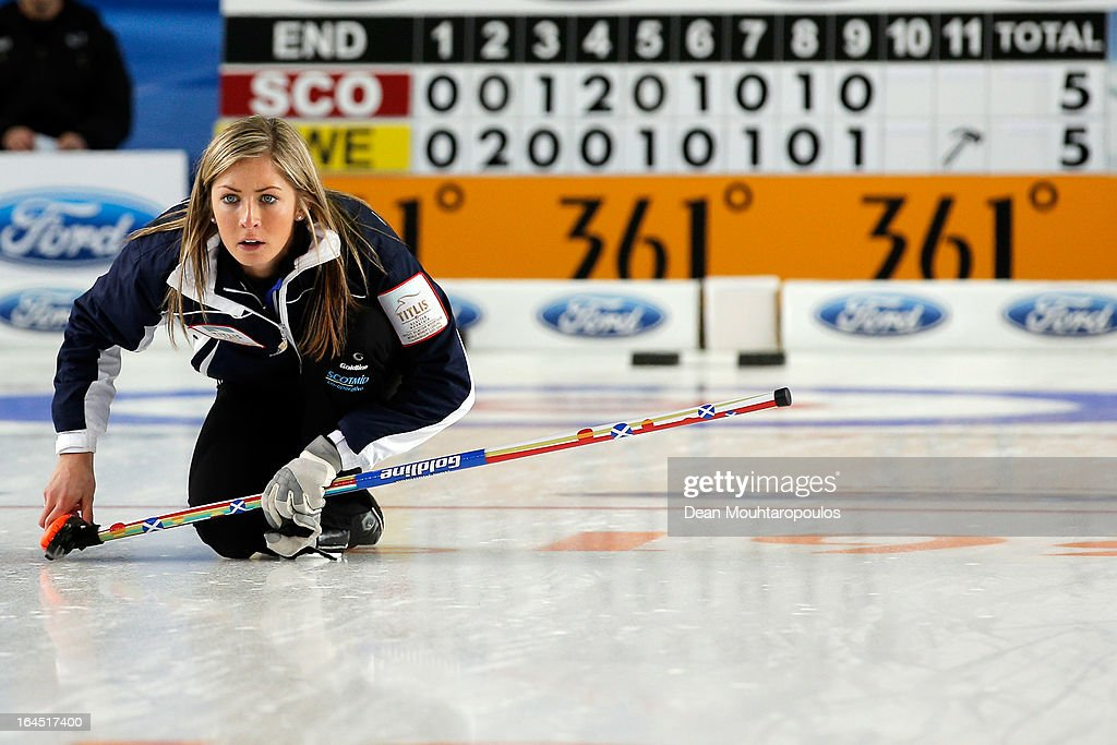Eve Muirhead of Scotland watches the final shot to win the Gold medal match between Sweden and Scotland on Day 9 of the Titlis Glacier Mountain World Women's Curling Championship at the Volvo Sports Centre on March 24, 2013 in Riga, Latvia.