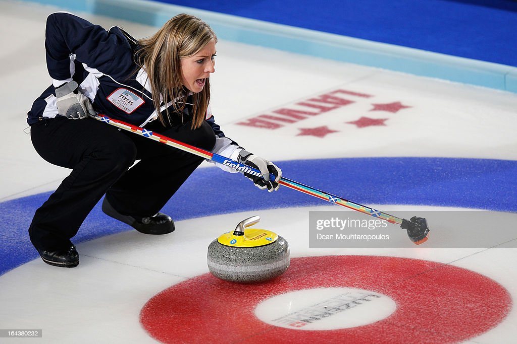 Eve Muirhead of Scotland yells instructions during the Semi Final match between Scotland and Canada on Day 8 of the Titlis Glacier Mountain World Women's Curling Championship at the Volvo Sports Centre on March 23, 2013 in Riga, Latvia.