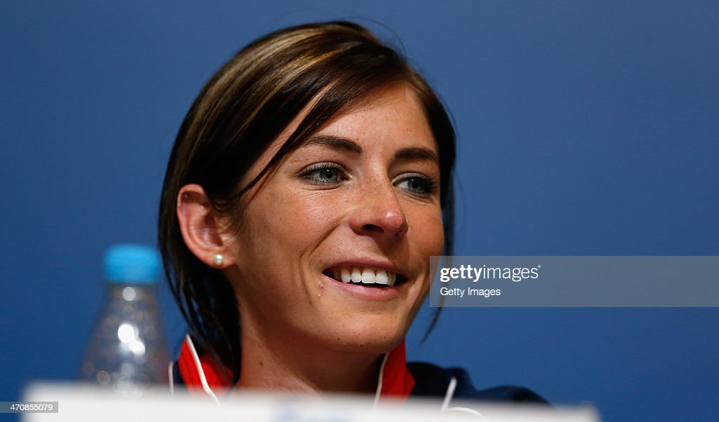 Eve Muirhead of the Great Britain Curling team speaks with the media during a press conference after Team GB won the bronze medal on day 13 of the Sochi 2014 Winter Olympics at the Main Press Center (MPC) on February 20, 2014 in Sochi, Russia.