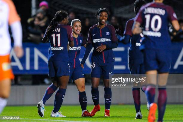 Eve Perisset and Onema Grace Geyoro celebrate a goal of PSG during the French Women's Division 1 match between Paris Saint Germain and Montpellier on...