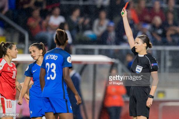 Eve Perisset of France women geta a red card during the UEFA WEURO 2017 Group C group stage match between Switzerland and France at the Rat Verlegh...