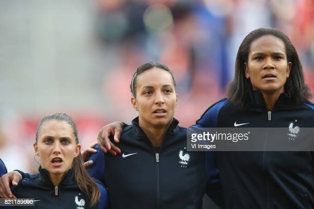 Eve Perisset of France women goalkeeper Sarah Bouhaddi of France women Wendie Renard of France women during the UEFA WEURO 2017 Group C group stage...