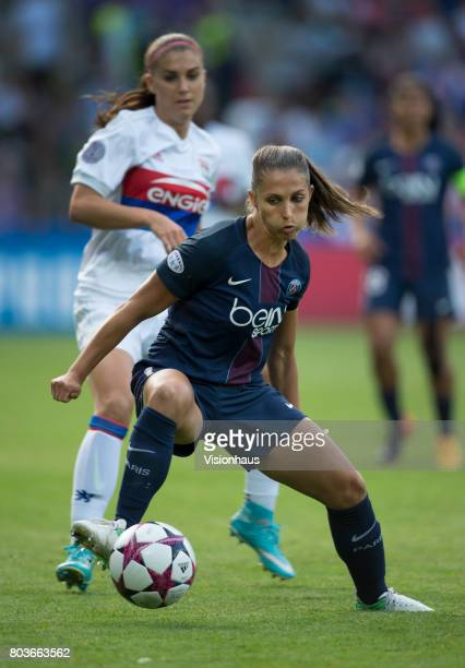 Eve Perisset of Paris St Germain and Alex Morgan of Olympique Lyonnais in action during the UEFA Women's Champions League Final between Olympique...