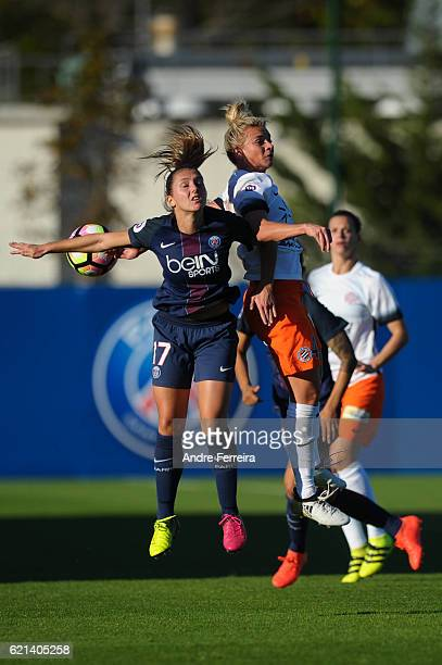 Eve Perisset of PSG and Marion Torrent of Montpellier during the French Division 1 between Paris Saint Germain and Montpellier at Camp des Loges on...
