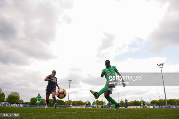 Eve Perisset of PSG and Teninsoun Sissoko of Saint Etienne during the women's National Cup match between Paris Saint Germain PSG and AS Saint Etienne...