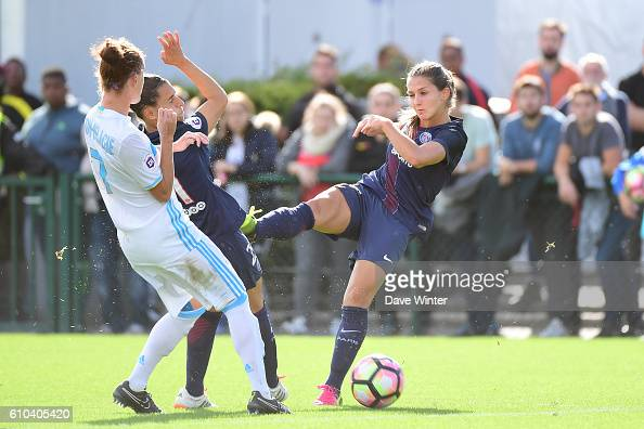 Eve Perisset of PSG during the women's French D1 league match between PSG and Olympique de Marseille at Camp des Loges on September 25 2016 in Saint...