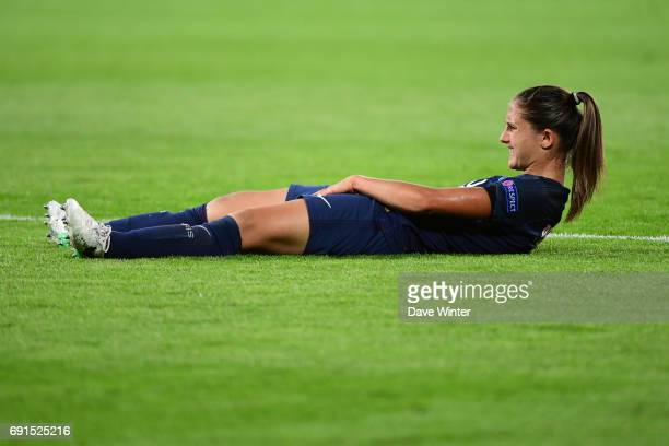 Eve Perisset of PSG goes down injured during the final of the UEFA Women's Champions League match between Olympique Lyonnais and Paris SaintGermain...