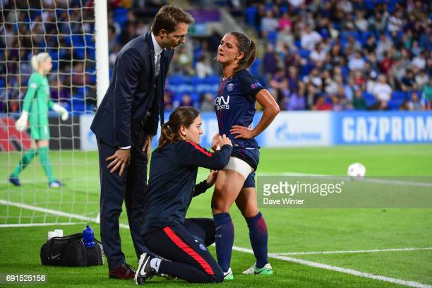 Eve Perisset of PSG is injured during during the final of the UEFA Women's Champions League match between Olympique Lyonnais and Paris SaintGermain...