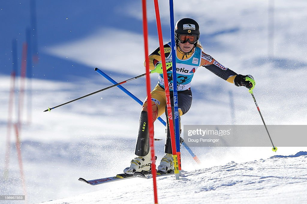 Eve Routhier of Canada skis the first run of the women's slalom at the Nature Valley Aspen Winternational Audi FIS Ski World Cup at Aspen Mountain on November 25, 2012 in Aspen, Colorado.