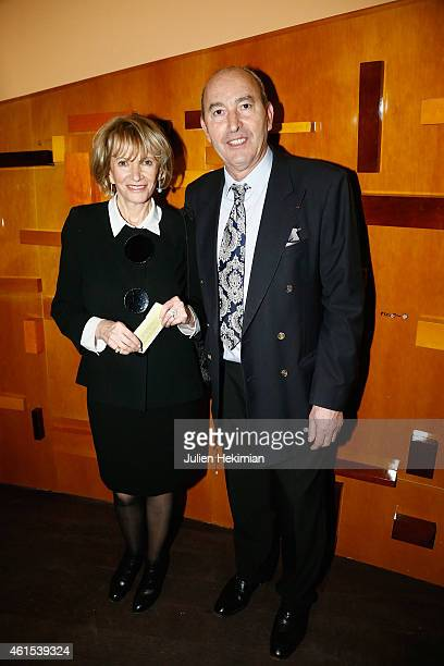 Eve Ruggieri and her companion Rachid Khimoune attend the Philharmonie De Paris Symphonic Concert Hall opening party on January 14 2015 in Paris...