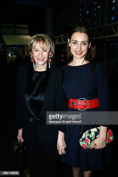 Eve Ruggieri and opera singer Marie Kalinine attend the Eve Ruggieri decorated Officier des Arts et Lettres by Jack Lang President of Institut du...