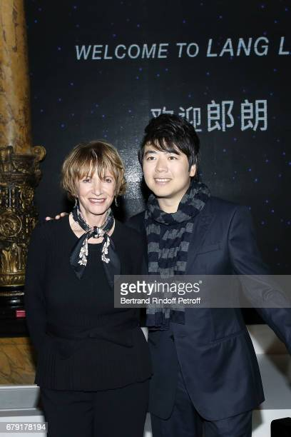 Eve Ruggieri and Pianist Lang Lang attend Wax Work Unveilling at Musee Grevin on May 5 2017 in Paris France