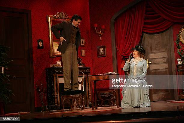 Eve Ruggieri and Tex as Baronness Duverger and Camille Bouzin in the play 'Un Fil à la Patte' by Feydeau adapted by Olivier Minne and directed by...