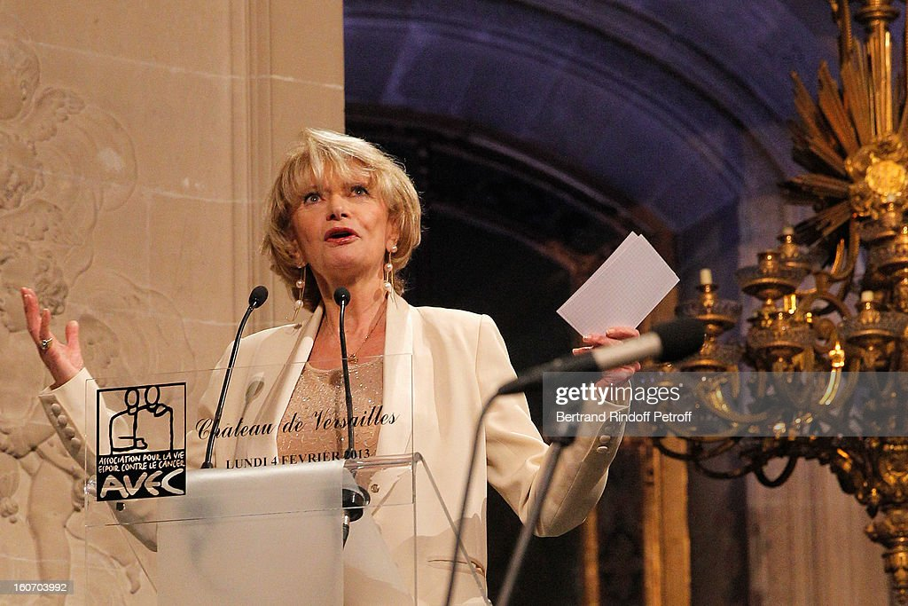 Eve Ruggieri delivers a speech prior to the yearly gala dinner of Professor David Khayat 's association 'AVEC', at Chateau de Versailles on February 4, 2013 in Versailles, France.
