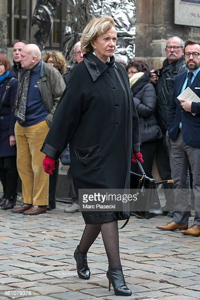 Eve Ruggieri leaves the funeral of journalist Jacques Chancel at SaintGermaindesPres church on January 6 2015 in Paris France