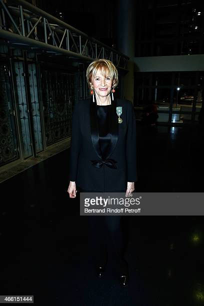 Eve Ruggieridressed with Smoking Pierre Cardin attends the Eve Ruggieri decorated Officier des Arts et Lettres by Jack Lang President of Institut du...