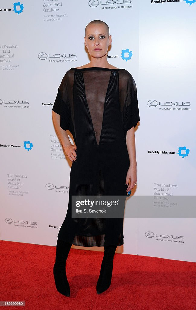 <a gi-track='captionPersonalityLinkClicked' href=/galleries/search?phrase=Eve+Salvail&family=editorial&specificpeople=226692 ng-click='$event.stopPropagation()'>Eve Salvail</a> attends the VIP reception and viewing for The Fashion World of Jean Paul Gaultier: From the Sidewalk to the Catwalk at the Brooklyn Museum on October 23, 2013 in the Brooklyn borough of New York City.