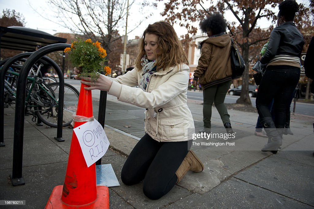 Eve Smith, 17, of Kensington, Maryland learned Olijawon's death and was the only one so far to put down flowers and create a makeshift memorial for him at the Woodley Park Metro Station in Washington, D.C.on November 18, 2012. Eve says she knew of Olijawon through a mutual friend. When she heard about his death she says, I wish I had gotten to know him more and figured, If I started this memorial then other people will follow. Olijawon Griffin,18 was fatally stabbed Saturday in the Woodley Park Metro station after a dispute with teenagers who had robbed him earlier. Marvin Joseph/The Washington Post via Getty Images)
