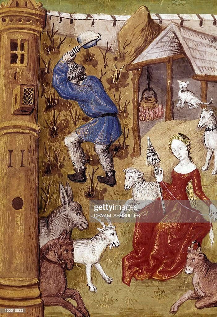 Eve spins the wool while Adam hoes the soil miniature France 15th Century