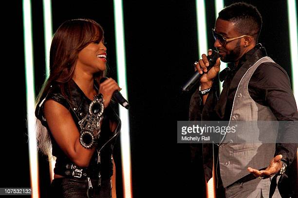 Eve with Fally Ipupa at the EKO Expo Centre for the MTV Africa Music Awards 2010 with Airtel on December 11 2010 in Lagos Nigeria