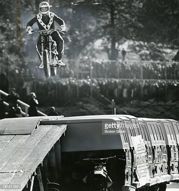 Evel Knievel jumps 10 truck vans at Holy Cross' Fitton Field in Worcester Some 10000 people turned out to watch the Columbus Day performance on...