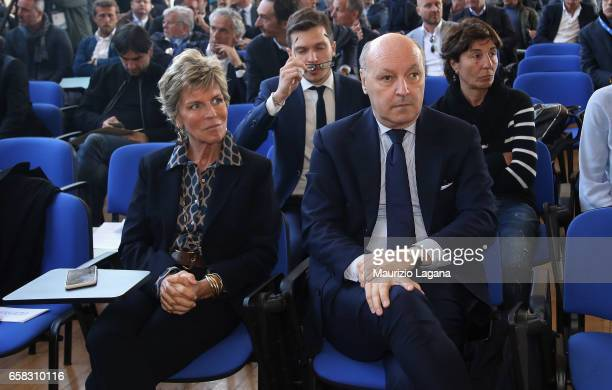 Evelina Christallin of FIFA and Giuseppe Marotta team manager of Juventus attend at Italian Football Federation 'Panchine D'Oro E D'Argento' Prize at...