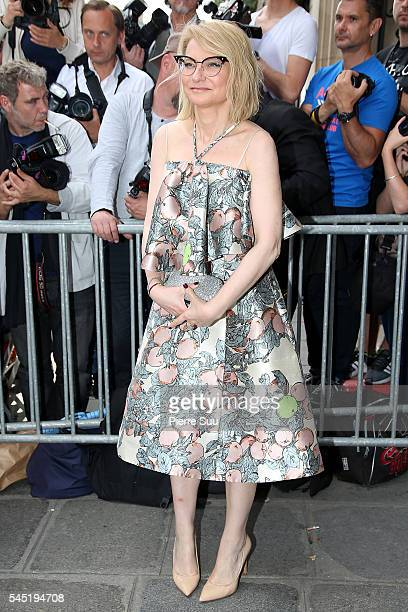 Evelina Khromchenko arrives at the Jean Paul Gaultier Haute Couture Fall/Winter 20162017 show as part of Paris Fashion Week on July 6 2016 in Paris...